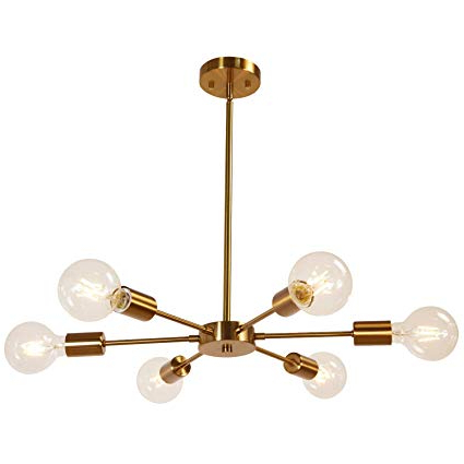 Popular Bautista 6 Light Sputnik Chandeliers With Melucee Modern Sputnik Chandelier 6 Lights Brass Chandelier Semi Flush Mount Ceiling Light Mid Century Pendant Light For Bedroom Foyer Dining Room (Gallery 14 of 30)