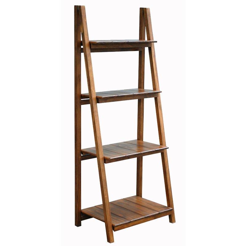 Popular Bordelon Slatted Ladder Bookcase Regarding Silvestri Ladder Bookcases (View 12 of 20)