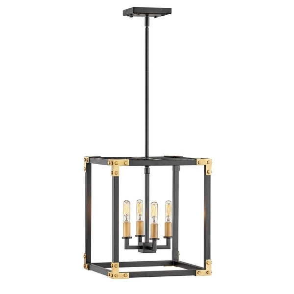 Popular Hewitt 4 Light Square Chandeliers With Hinkley Louis 4 Light Chandelier In Satin Black (View 6 of 30)