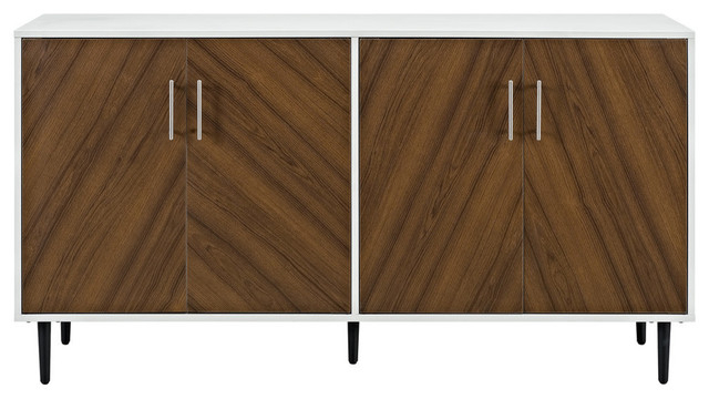 "Popular Keiko Modern Bookmatch Sideboards Within 58"" Modern Bookmatch Buffet Tv Stand – White And Teak (View 17 of 20)"