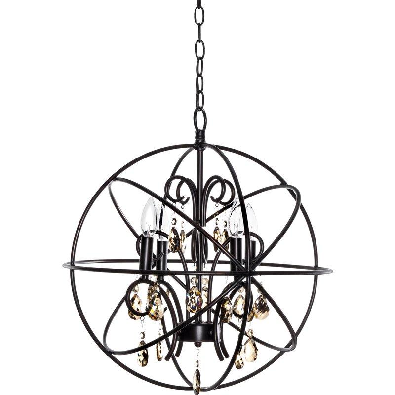 Preferred Alden 4 Light Globe Chandelier In Alden 3 Light Single Globe Pendants (View 7 of 30)