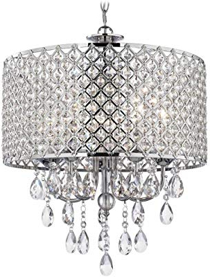 Preferred Edvivi Marya 4 Light Chrome Round Crystal Chandelier Ceiling Pertaining To Von 4 Light Crystal Chandeliers (View 19 of 30)