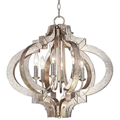 Preferred Morganti 4 Light Chandeliers Regarding Possini Ornament Aged Silver 6 Light Chandelier – #t (View 22 of 30)