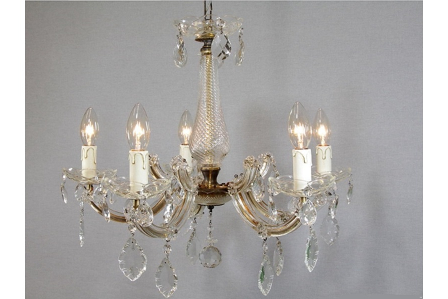 Preferred Thresa 5 Light Shaded Chandeliers Intended For Vintage Crystal Glass Dutch Maria Theresa Chandelier 5 Light, 1950s (View 26 of 30)