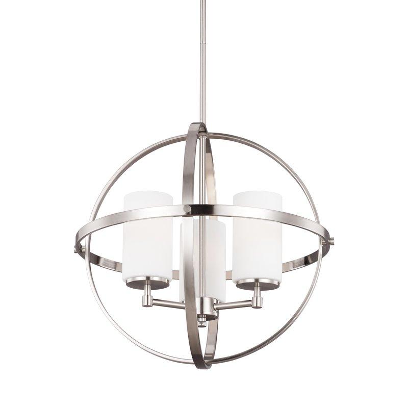Raine 3 Light Globe Chandelier With Regard To Widely Used La Barge 3 Light Globe Chandeliers (View 15 of 30)