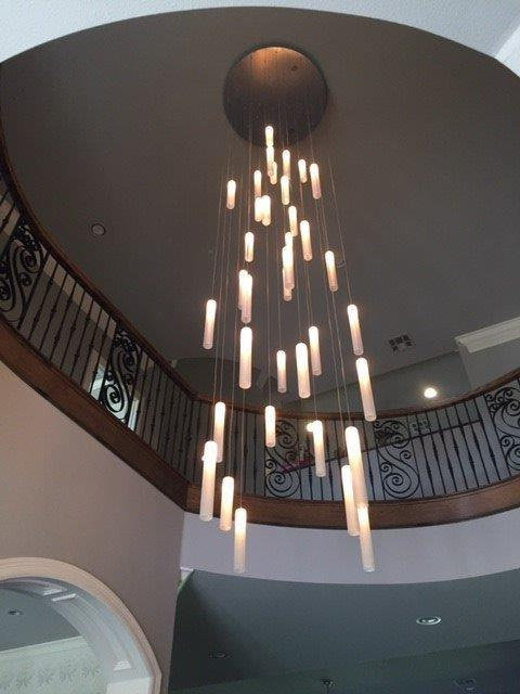 Rainfall – Contemporary Multi Level Chandelier, Two Story Pertaining To Most Popular Emaria 4 Light Unique / Statement Chandeliers (View 17 of 30)