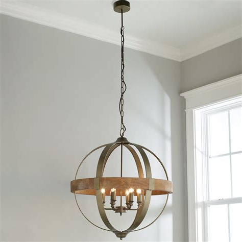 Recent Alden 6 Light Globe Chandeliers For Rectangal Metal And Wood Pendant Light – 323main (View 28 of 30)