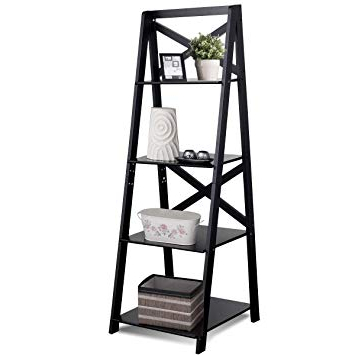 Recent Amazon: Lhone Ladder Shelf Bookcase 4 Tier Wood Throughout Narrow Ladder Bookcases (View 13 of 20)