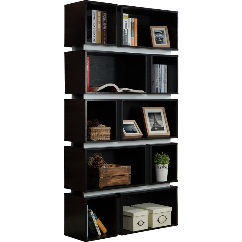 Recent Chantilly Geometric Bookcases Throughout Bradberry Geometric Bookcase (View 17 of 20)