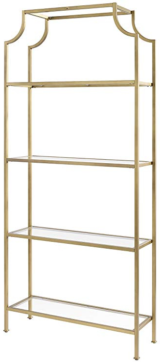 Recent Crosley Furniture Cf6101 Gl Aimee Etagere Bookcase – Gold And Glass In Destiny Etagere Bookcases (Gallery 17 of 20)
