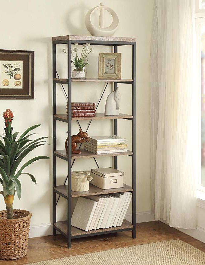 "Recent Homelegance Daria 5 Tier Bookcase, 26"" W, Brown Pertaining To Daria Standard Bookcases (View 15 of 20)"