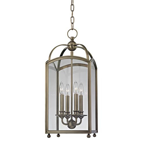 Recent Hudson Valley Millbrook Historic Nickel 25 Inch Four Light Pendant With  Clear Glass In Millbrook 5 Light Shaded Chandeliers (Gallery 13 of 30)
