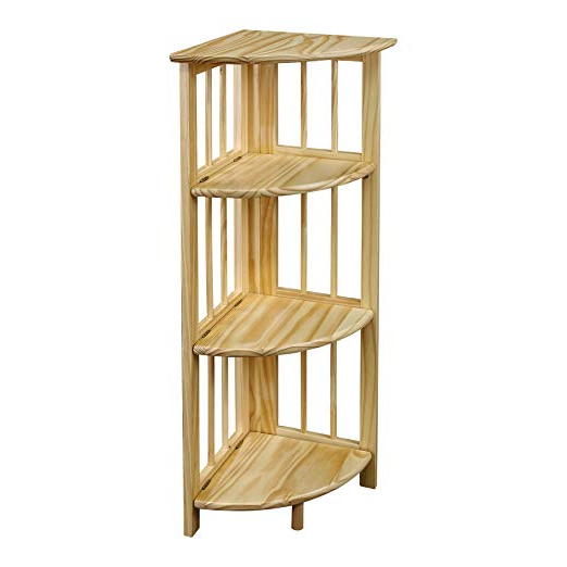 Recent Johannes Corner Bookcases Intended For Yu Shan 4 Shelf Corner Bookcase, Natural (View 16 of 20)