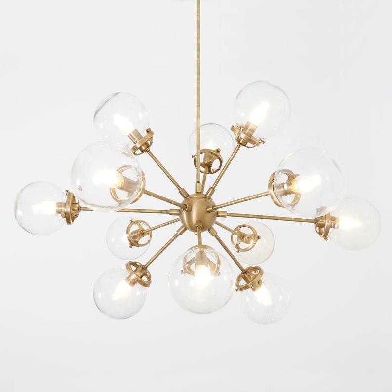 Recent Modern Brass 12 Globe Bistro Sputnik Chandelier Light Fixture – Sputnik  Starburst Chandelier With Corona 12 Light Sputnik Chandeliers (Gallery 17 of 30)