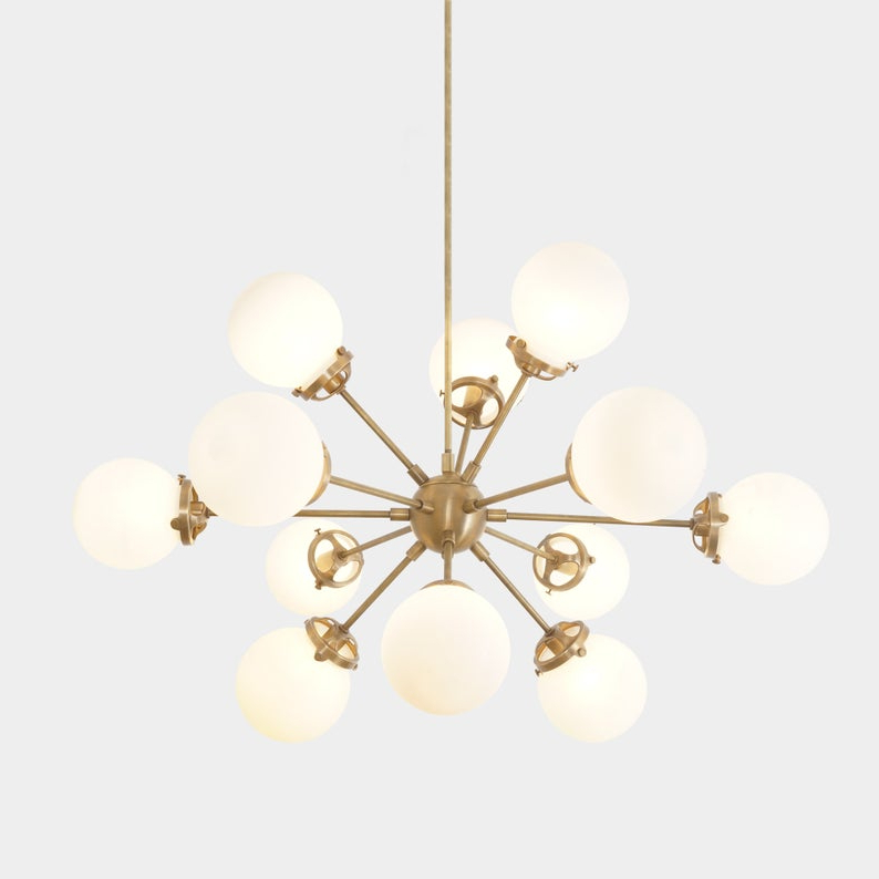 Recent Modern Brass 12 Globe Bistro Sputnik Chandelier Light Fixture – Sputnik  Starburst Chandelier Within Corona 12 Light Sputnik Chandeliers (Gallery 29 of 30)