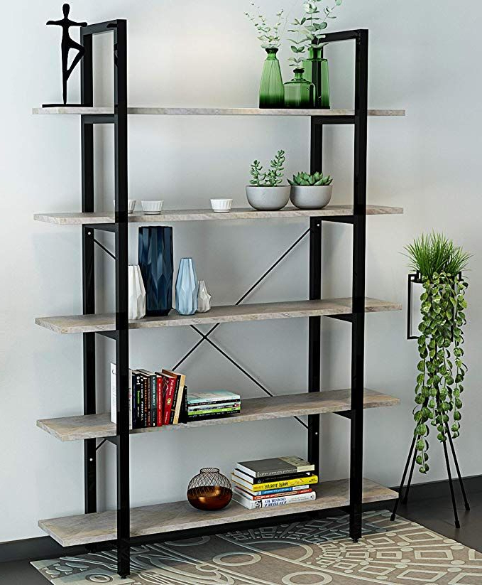 Recent Oraf 5 Tier Vintage Industrial Rustic Bookshelves Throughout Rossman Etagere Bookcases (View 13 of 20)