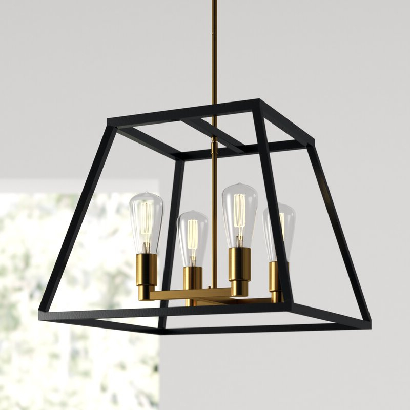 Recent Shisler 4 Light Square/rectangle Chandelier Regarding Delon 4 Light Square Chandeliers (View 28 of 30)