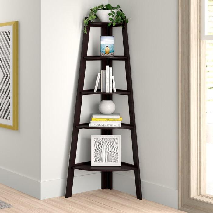 Recent Tisha Corner Bookcase Intended For Mari Wood Corner Bookcases (View 15 of 20)