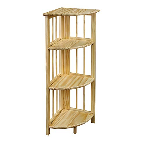 Recent Yu Shan 4 Shelf Corner Bookcase, Natural In Johannes Corner Bookcases (View 17 of 20)
