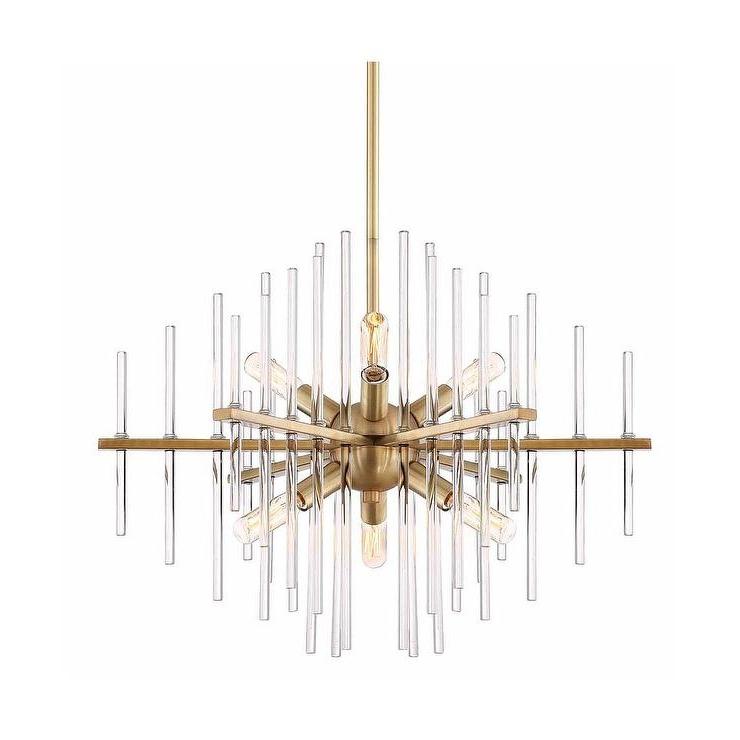 Reeve Brass Glass Rods Sputnik 6 Light Chandelier In Popular Lynn 6 Light Geometric Chandeliers (View 24 of 30)