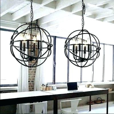 Ricciardo 4 Light Globe Chandeliers Pertaining To Newest Metal And Wood Sphere Chandelier – Eventkey (View 23 of 30)
