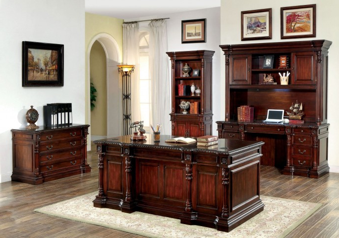 Roosevelt Cherry Credenza Desk With Hutch From Furniture Of In Well Known Deana Credenzas (View 18 of 20)