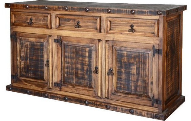 Rustic Pine Buffet W/ Drawers Within Most Recent Courtdale Sideboards (View 8 of 20)