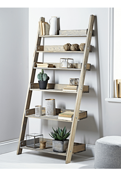 Rustic Wooden Ladder Shelf – Wide (View 12 of 20)