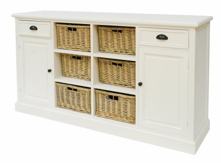 Rutherford Whitewash Sideboard With Baskets: Amazon.co (View 10 of 20)