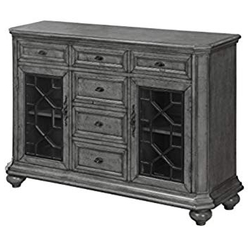 Rutledge Sideboards Regarding Best And Newest Amazon: Rutledge Antique Grey 4 Door Pattern Front (View 10 of 20)
