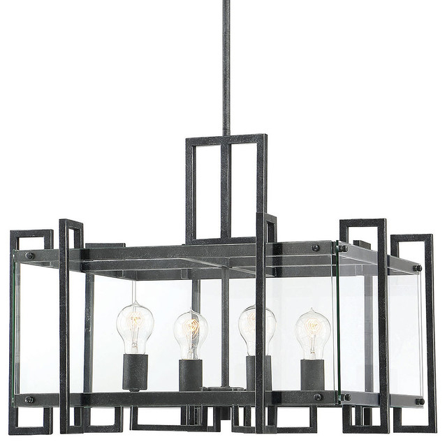 "Savoy House 7 2281 4 Bennington 4 Light 24"" Wide Chandelier With Glass  Panels Within Preferred Bennington 4 Light Candle Style Chandeliers (View 27 of 30)"
