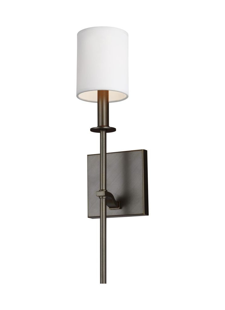 Sea Gull Lighting Wb1873anbz Hewitt 1 Light Wall Sconce In Antique Bronze With Square White Paper Shade In Most Current Hewitt 4 Light Square Chandeliers (View 17 of 30)