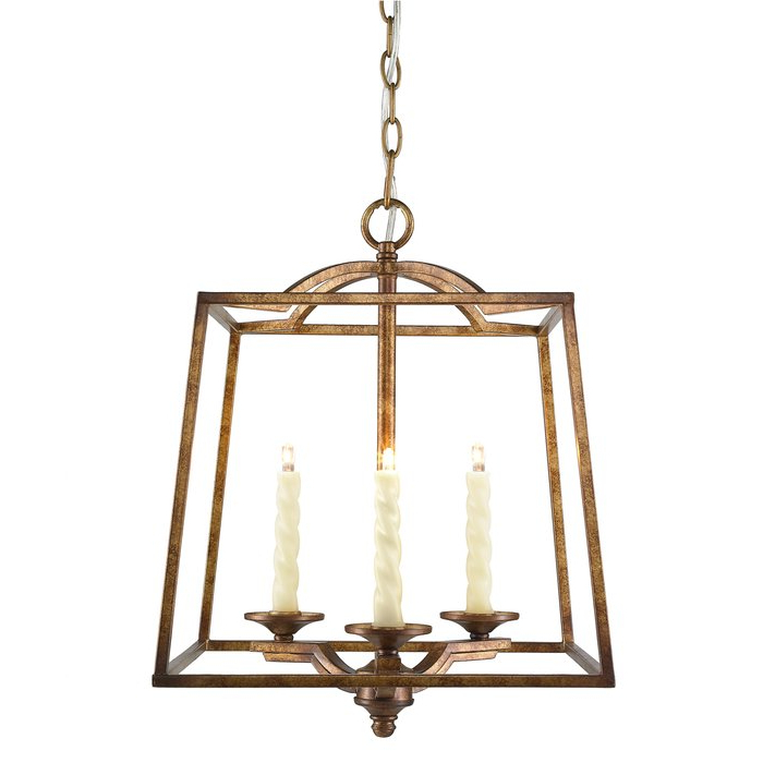 Senter 3 Light Steel Lantern Pendant Pertaining To Most Recent Leiters 3 Light Lantern Geometric Pendants (View 12 of 30)