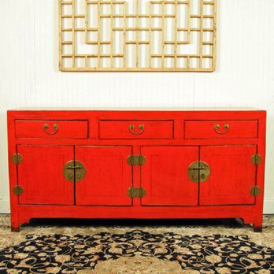 "Seven Seas Asian Sideboards Within Well Liked Antique Asian Chinese Furniture 68"" Long Red Lacquer Buffet (View 19 of 20)"