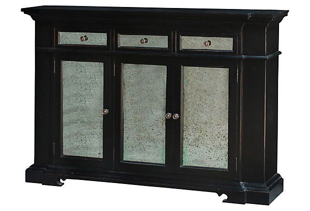 Shabby 3 Door Narrow Sideboard, Black On Onekingslane Within Trendy Hewlett Sideboards (View 20 of 20)