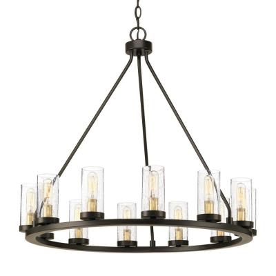Shayla 12 Light Wagon Wheel Chandeliers With Regard To Best And Newest Wagon Wheel – Chandeliers – Lighting – The Home Depot (View 20 of 30)