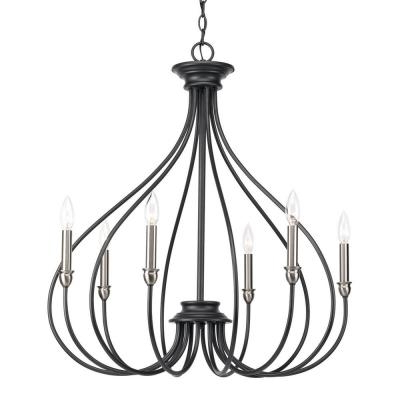 Shaylee 6 Light Candle Style Chandeliers Pertaining To Most Popular Black – Candle Style – Chandeliers – Lighting – The Home Depot (View 17 of 30)