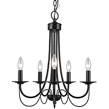 Shaylee 8 Light Candle Style Chandeliers Intended For Trendy Iron 8 Light Black Chandelier – – Amazon (View 21 of 30)