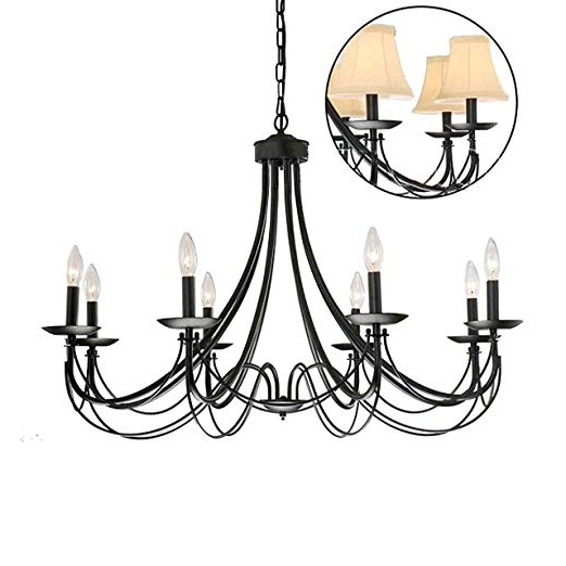 Shaylee 8 Light Candle Style Chandeliers Throughout Well Known Iron 8 Light Black Chandelier (View 26 of 30)