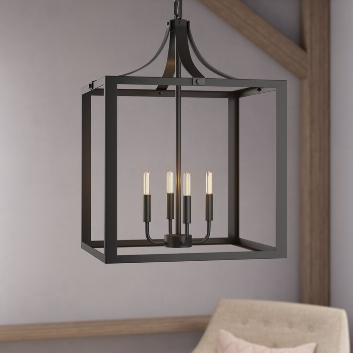 Sherri Ann 4 Light Lantern Square / Rectangle Pendant Pertaining To 2020 Sherri 6 Light Chandeliers (View 14 of 30)