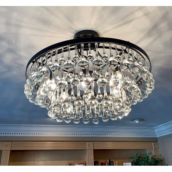 Shop Arosa 9 Light Black Semi Flush Mount – On Sale – Free With Regard To Most Popular Mcknight 9 Light Chandeliers (View 26 of 30)