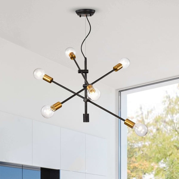 Shop Lorena Sputnik Antique Black And Metallic Gold Regarding Preferred Silvia 6 Light Sputnik Chandeliers (View 28 of 30)