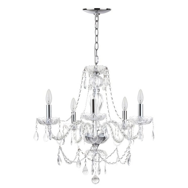 Shop Safavieh Lighting Jingle Adjustable 5 Light Chrome Intended For Most Recently Released Berger 5 Light Candle Style Chandeliers (View 16 of 30)