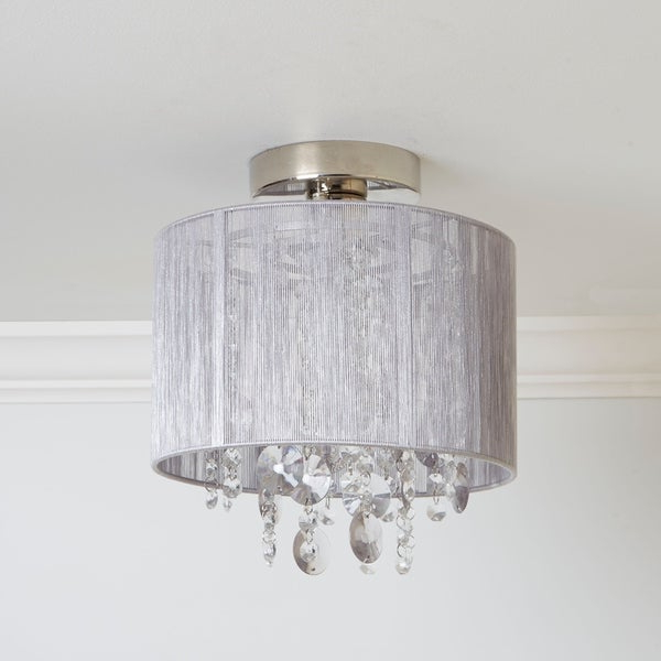 Shop Silvia String Beaded Flush Mount Ceiling Light – On Pertaining To Fashionable Alverez 4 Light Drum Chandeliers (View 18 of 30)