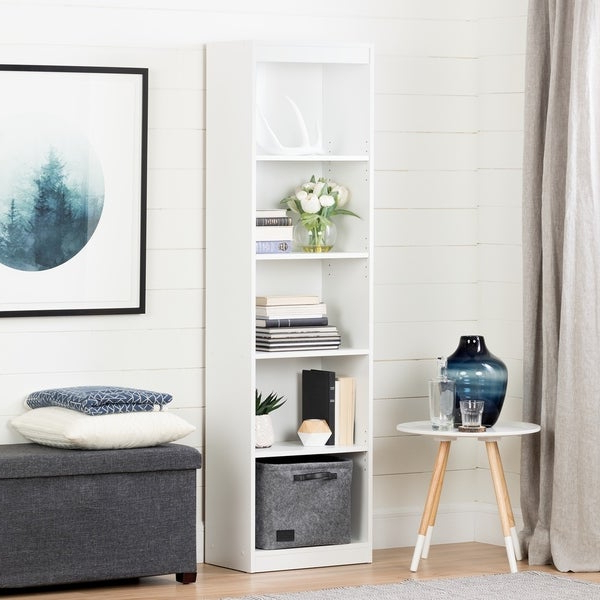 Shop South Shore Axess Pure White 5 Shelf Narrow Bookcase Regarding Most Current Axess Standard Bookcases (View 15 of 20)