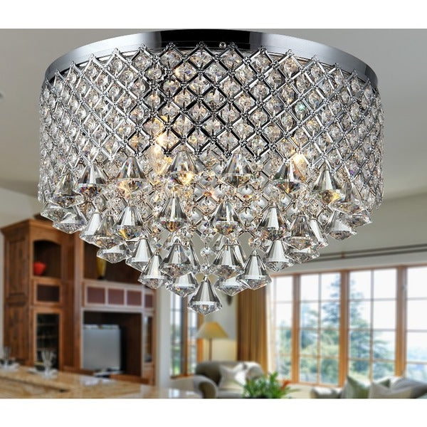 Shop Trey 3 Light Chrome 16 Inch Crystal Flush Mount – Free With Well Known Clea 3 Light Crystal Chandeliers (View 26 of 30)