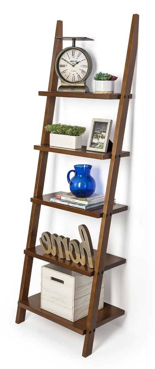 Silvestri Ladder Bookcases Regarding Well Liked Wooden Leaning Ladder Rack With 5 Shelves – Brown In (View 14 of 20)