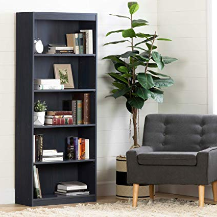 South Shore 12337 Axess 5 Shelf Bookcase, Blueberry For Favorite Axess Standard Bookcases (View 8 of 20)