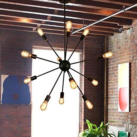 Sputnik Chandeliers 12 Lights Black Pendant Lighting Ceiling Mount Light  Fixture, Ul Listed In Fashionable Asher 12 Light Sputnik Chandeliers (View 24 of 30)