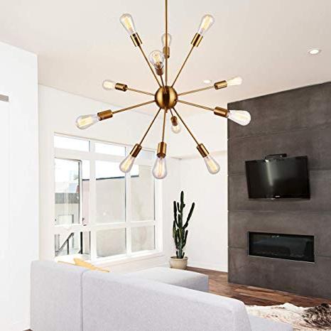 Sputnik Chandeliers 12 Lights Vintage Brass Pendant Lighting, Ul Listed Regarding Most Current Asher 12 Light Sputnik Chandeliers (View 16 of 30)